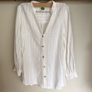 Anthropology white button down blouse